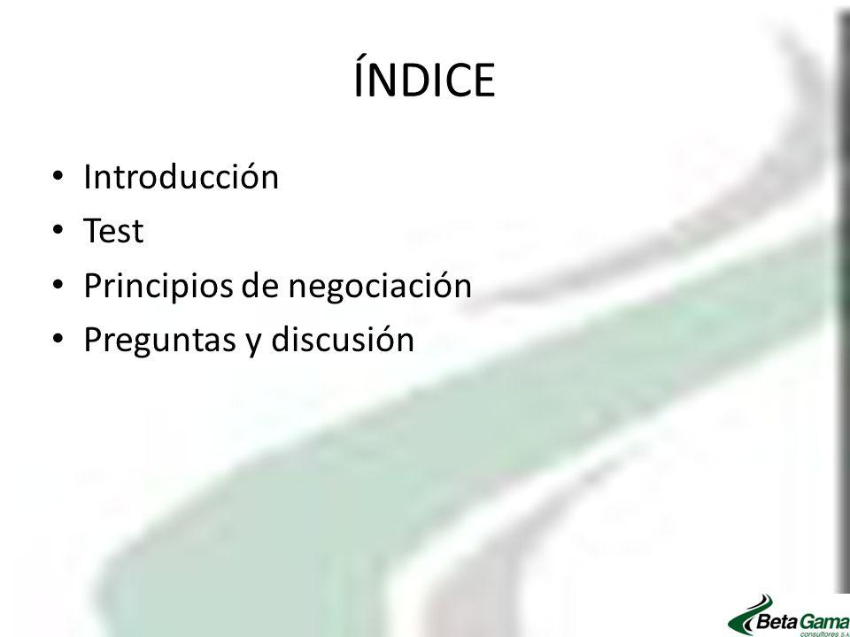 ÍNDICE Introducción Test Principios de negociación Preguntas y discusión