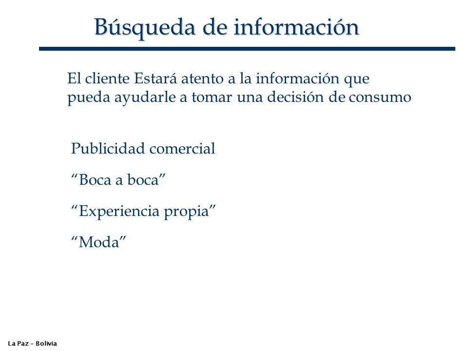 Búsqueda de información La Paz – Bolivia El cliente Estará atento a la información que pueda ayudarle a tomar una decisión de consumo Publicidad comer