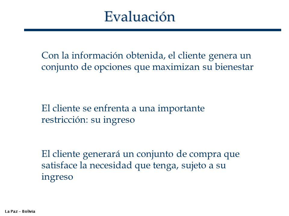 Evaluación La Paz – Bolivia Con la información obtenida, el cliente genera un conjunto de opciones que maximizan su bienestar El cliente se enfrenta a