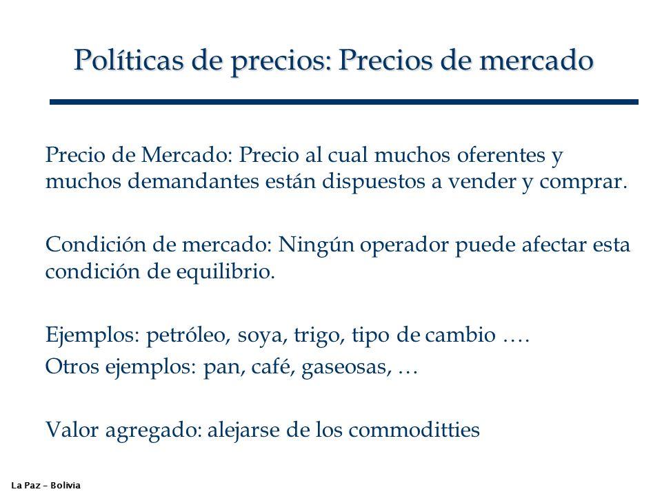 Políticas de precios: Precios de mercado La Paz – Bolivia Precio de Mercado: Precio al cual muchos oferentes y muchos demandantes están dispuestos a v