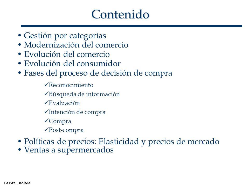 Contenido La Paz – Bolivia Gestión por categorías Modernización del comercio Evolución del comercio Evolución del consumidor Fases del proceso de deci