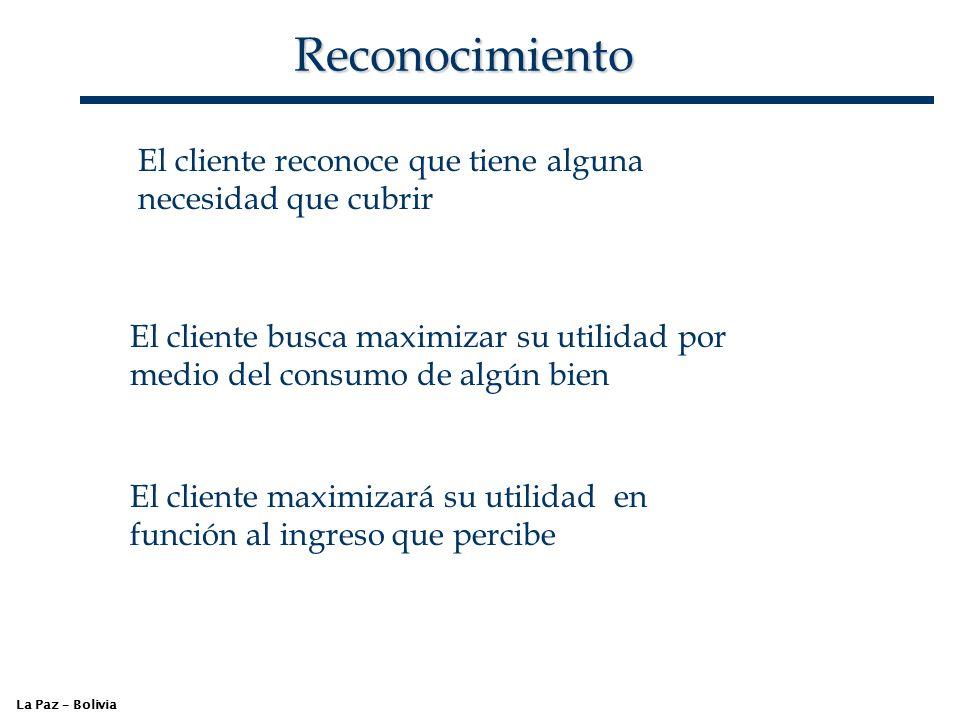 Reconocimiento La Paz – Bolivia El cliente reconoce que tiene alguna necesidad que cubrir El cliente busca maximizar su utilidad por medio del consumo