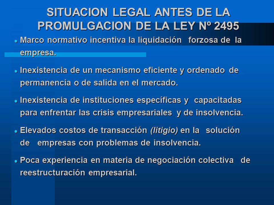 SITUACION LEGAL ANTES DE LA PROMULGACION DE LA LEY Nº 2495 Marco normativo incentiva la liquidación forzosa de la empresa.