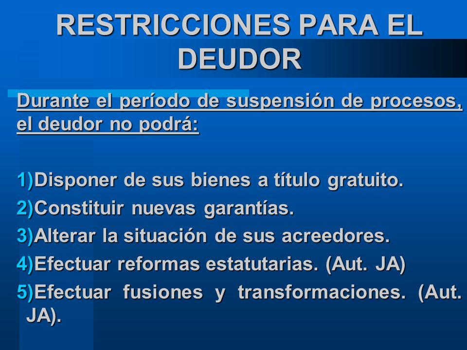 RESTRICCIONES PARA EL DEUDOR Durante el período de suspensión de procesos, el deudor no podrá: 1)Disponer de sus bienes a título gratuito.