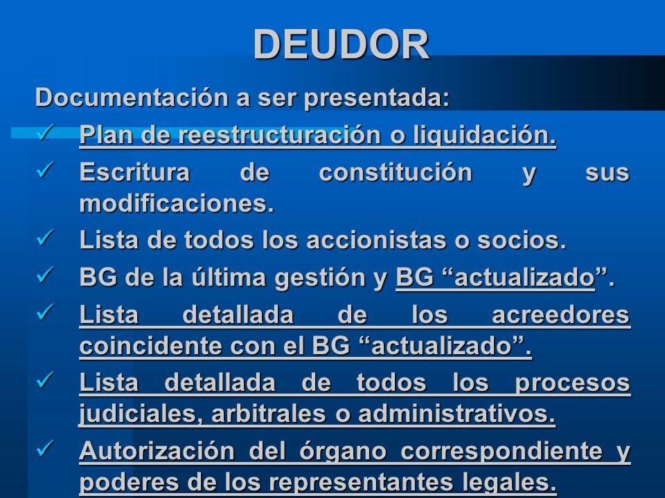 DEUDOR Documentación a ser presentada: Plan de reestructuración o liquidación.