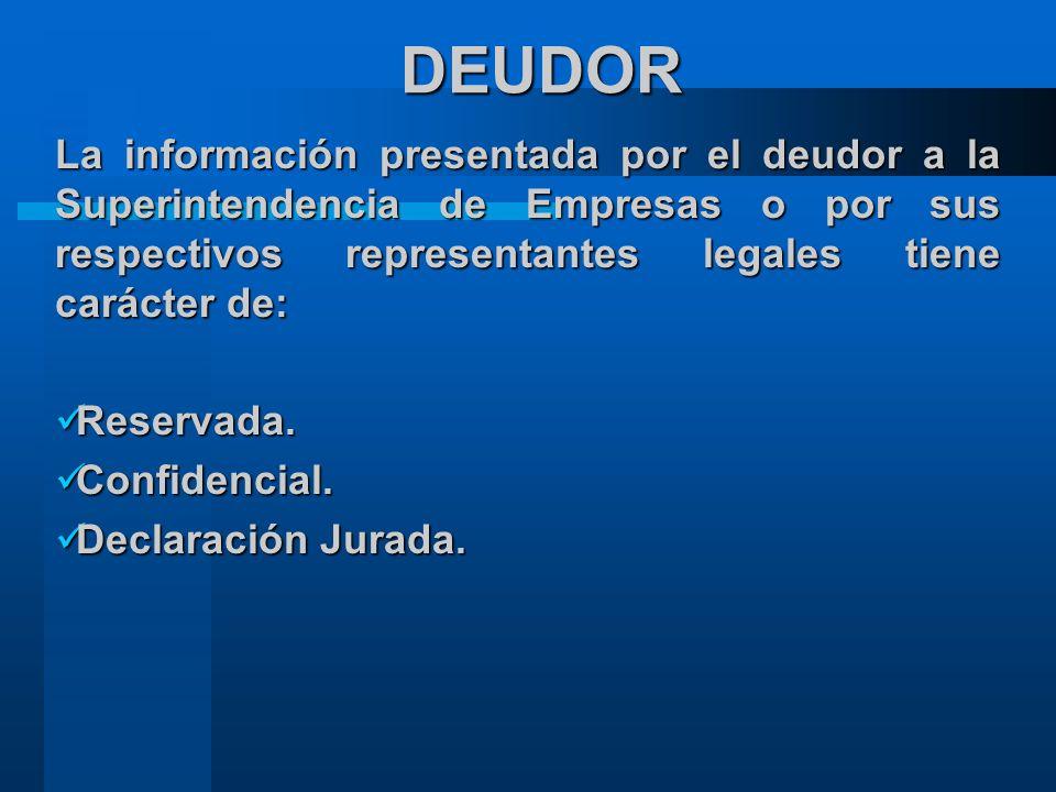 DEUDOR La información presentada por el deudor a la Superintendencia de Empresas o por sus respectivos representantes legales tiene carácter de: Reservada.