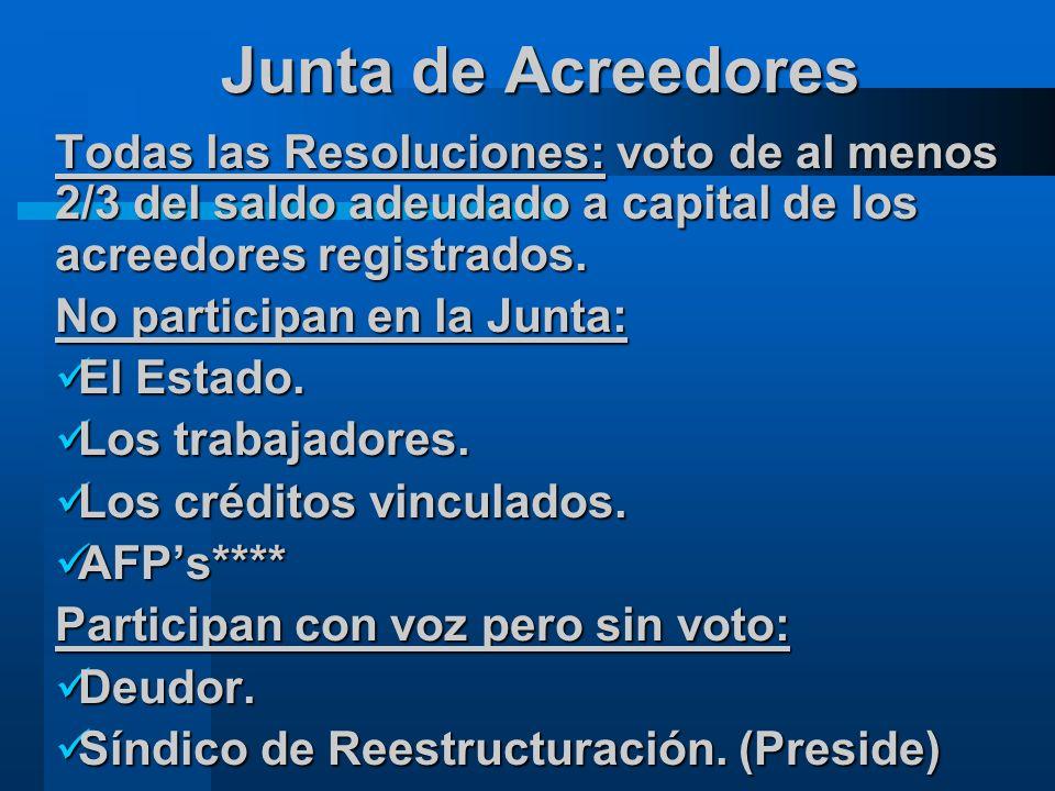 Junta de Acreedores Todas las Resoluciones: voto de al menos 2/3 del saldo adeudado a capital de los acreedores registrados.