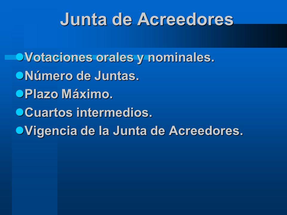 Junta de Acreedores Votaciones orales y nominales.