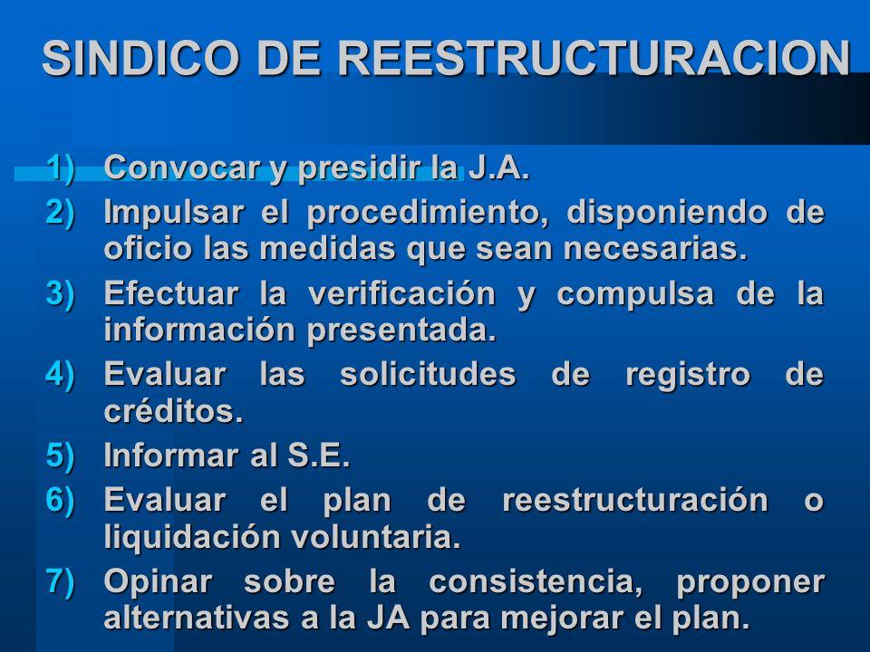 SINDICO DE REESTRUCTURACION 1)Convocar y presidir la J.A.