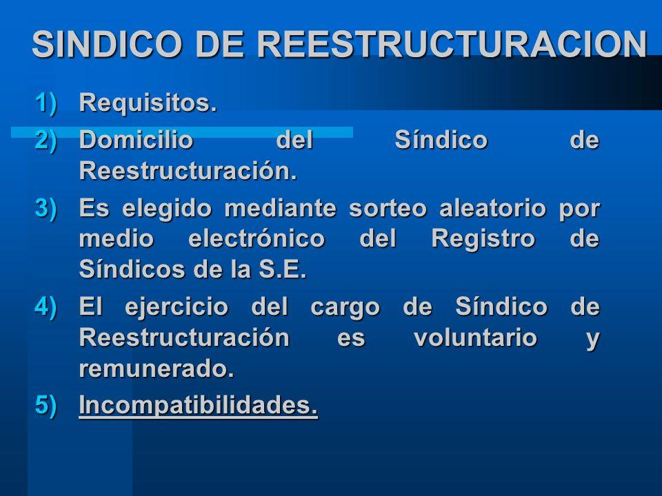 SINDICO DE REESTRUCTURACION 1)Requisitos.2)Domicilio del Síndico de Reestructuración.
