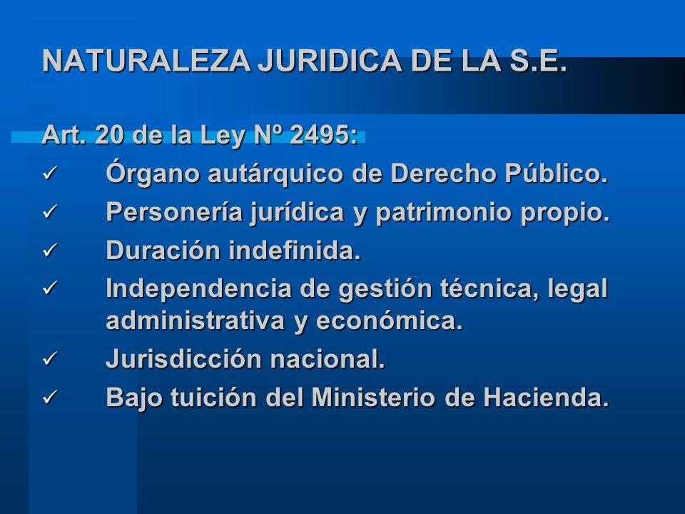 NATURALEZA JURIDICA DE LA S.E.Art. 20 de la Ley Nº 2495: Órgano autárquico de Derecho Público.