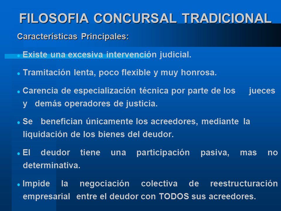 FILOSOFIA CONCURSAL TRADICIONAL Características Principales: Existe una excesiva intervención judicial.