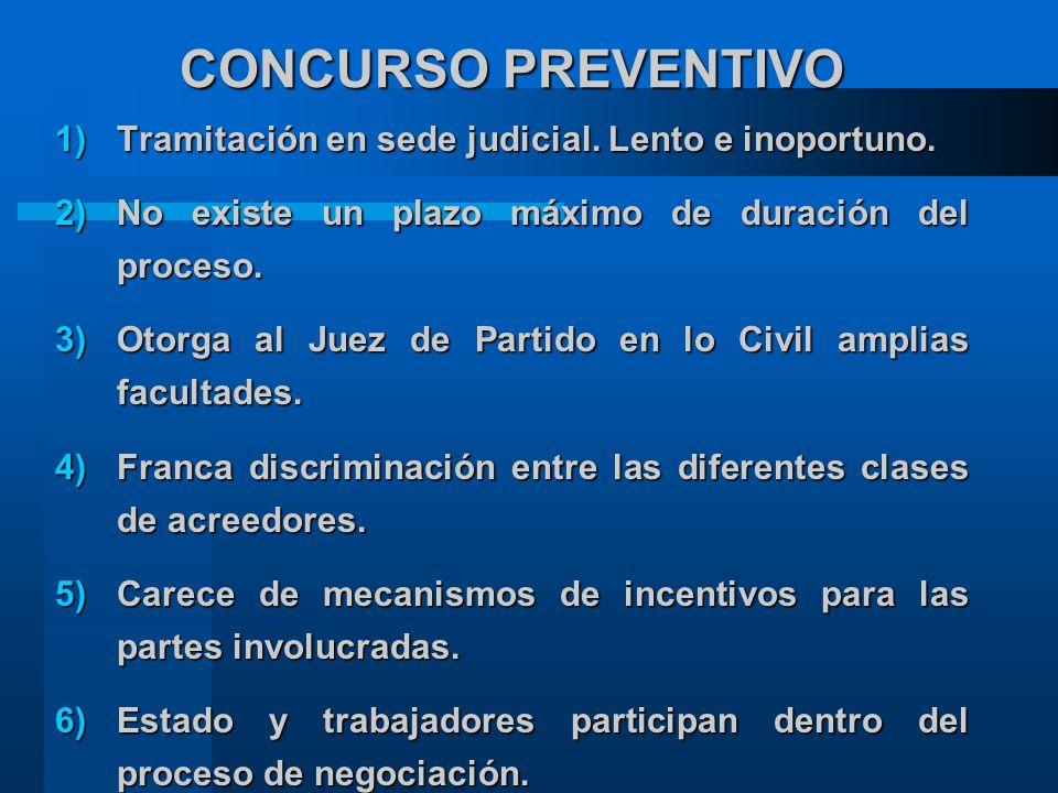 CONCURSO PREVENTIVO 1)Tramitación en sede judicial.