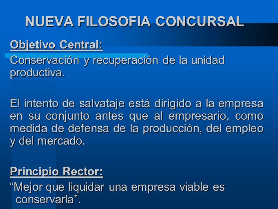 NUEVA FILOSOFIA CONCURSAL Objetivo Central: Conservación y recuperación de la unidad productiva.