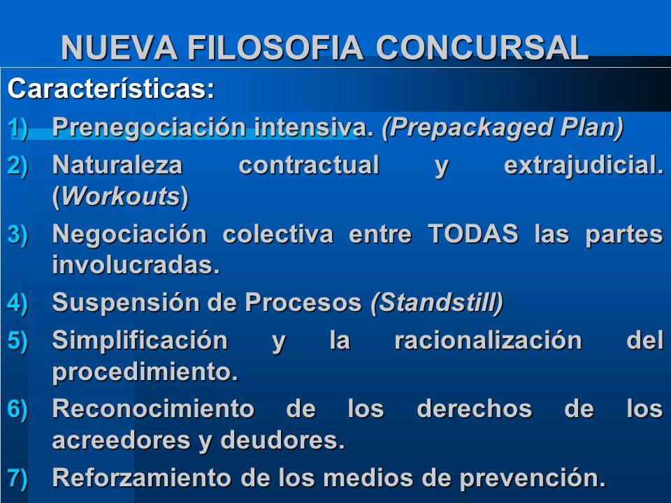 NUEVA FILOSOFIA CONCURSAL Características: 1) Prenegociación intensiva.