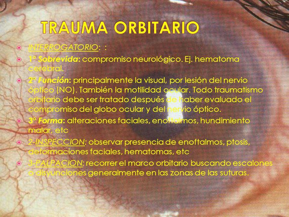 INTERROGATORIO: : 1° Sobrevida : compromiso neurológico. Ej. hematoma cerebral. 2° Función : principalmente la visual, por lesión del nervio óptico (N