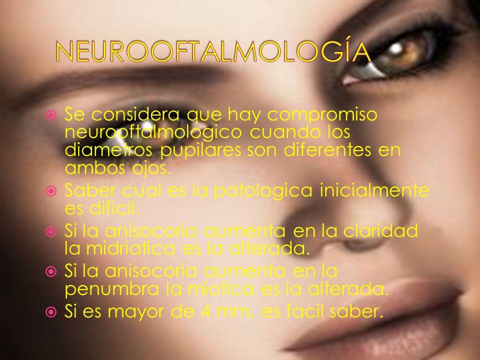Se considera que hay compromiso neurooftalmologico cuando los diametros pupilares son diferentes en ambos ojos. Saber cual es la patologica inicialmen