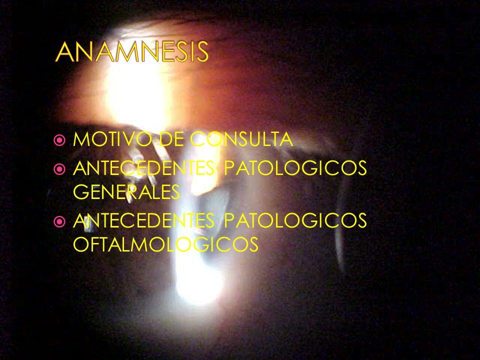 MOTIVO DE CONSULTA ANTECEDENTES PATOLOGICOS GENERALES ANTECEDENTES PATOLOGICOS OFTALMOLOGICOS