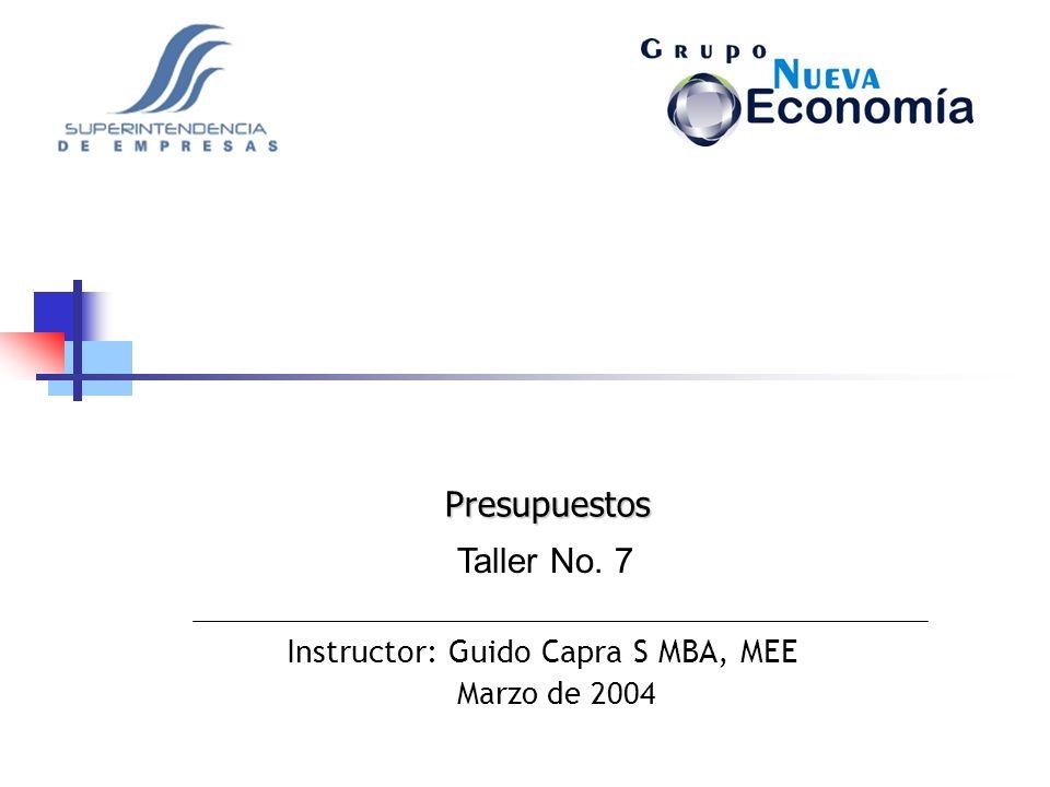 Instructor: Guido Capra S MBA, MEE Marzo de 2004 Taller No. 7 Presupuestos