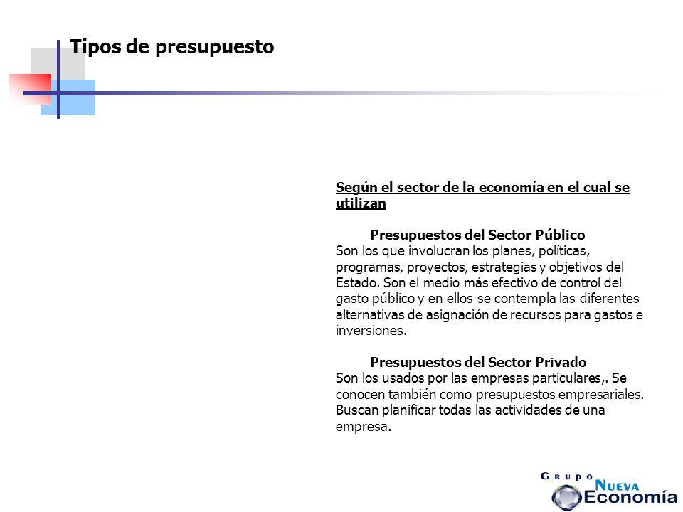 Según el sector de la economía en el cual se utilizan Presupuestos del Sector Público Son los que involucran los planes, políticas, programas, proyect