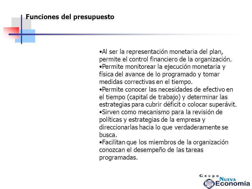 Al ser la representación monetaria del plan, permite el control financiero de la organización. Permite monitorear la ejecución monetaria y física del