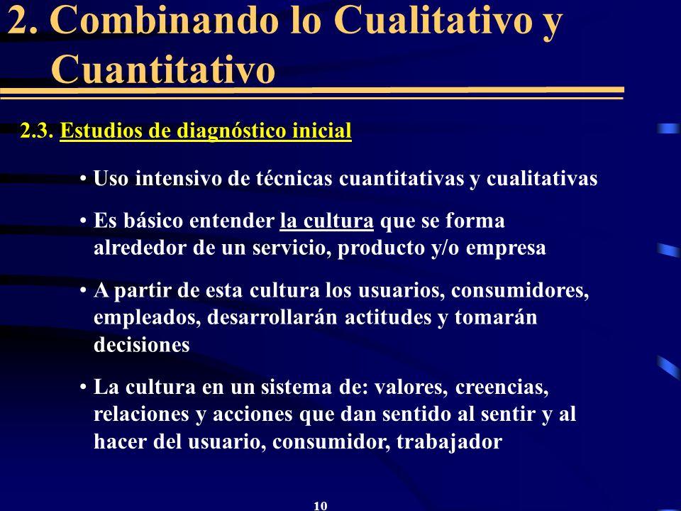 10 2. Combinando lo Cualitativo y Cuantitativo 2.3. Estudios de diagnóstico inicial Uso intensivo de técnicas cuantitativas y cualitativas Es básico e