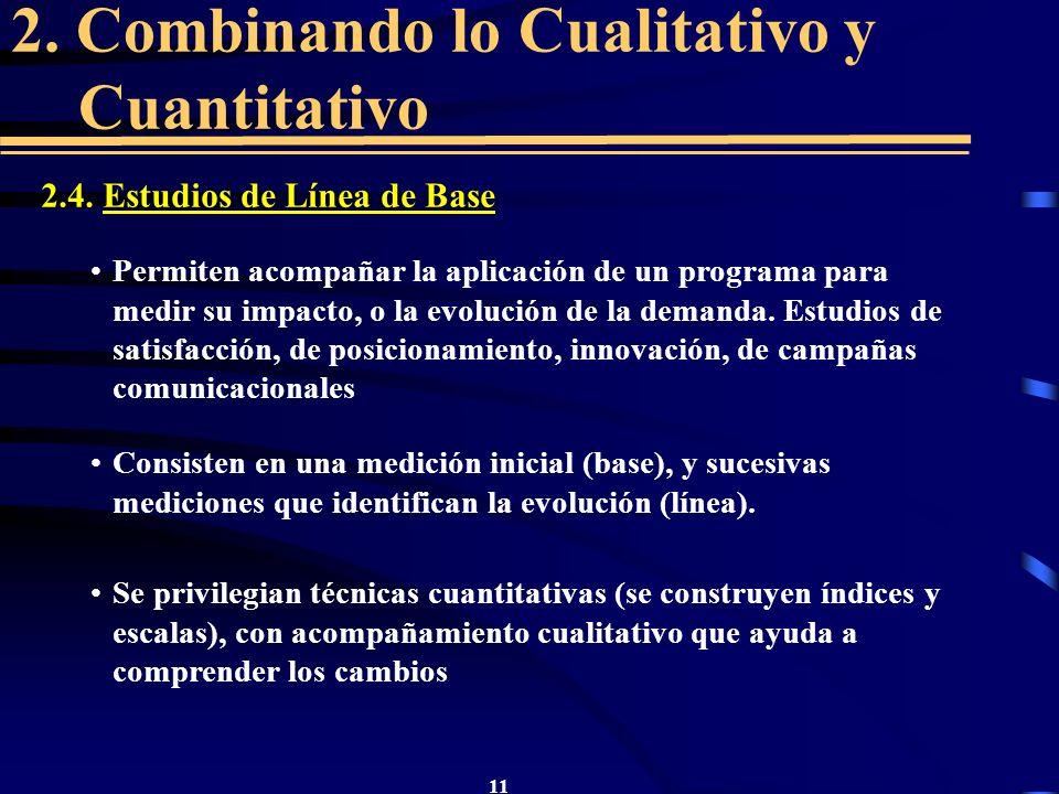 11 2. Combinando lo Cualitativo y Cuantitativo 2.4. Estudios de Línea de Base Permiten acompañar la aplicación de un programa para medir su impacto, o