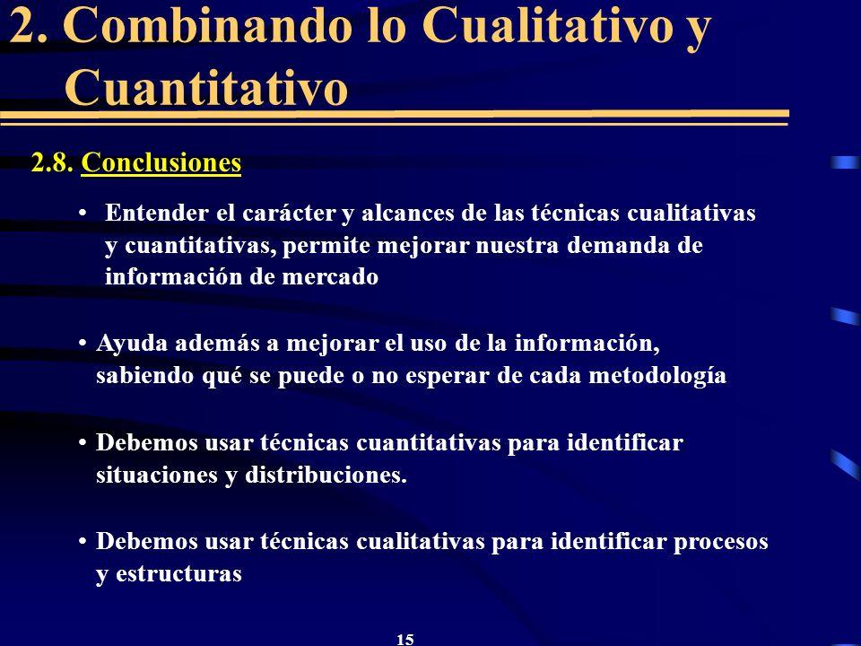 15 2. Combinando lo Cualitativo y Cuantitativo 2.8. Conclusiones Entender el carácter y alcances de las técnicas cualitativas y cuantitativas, permite