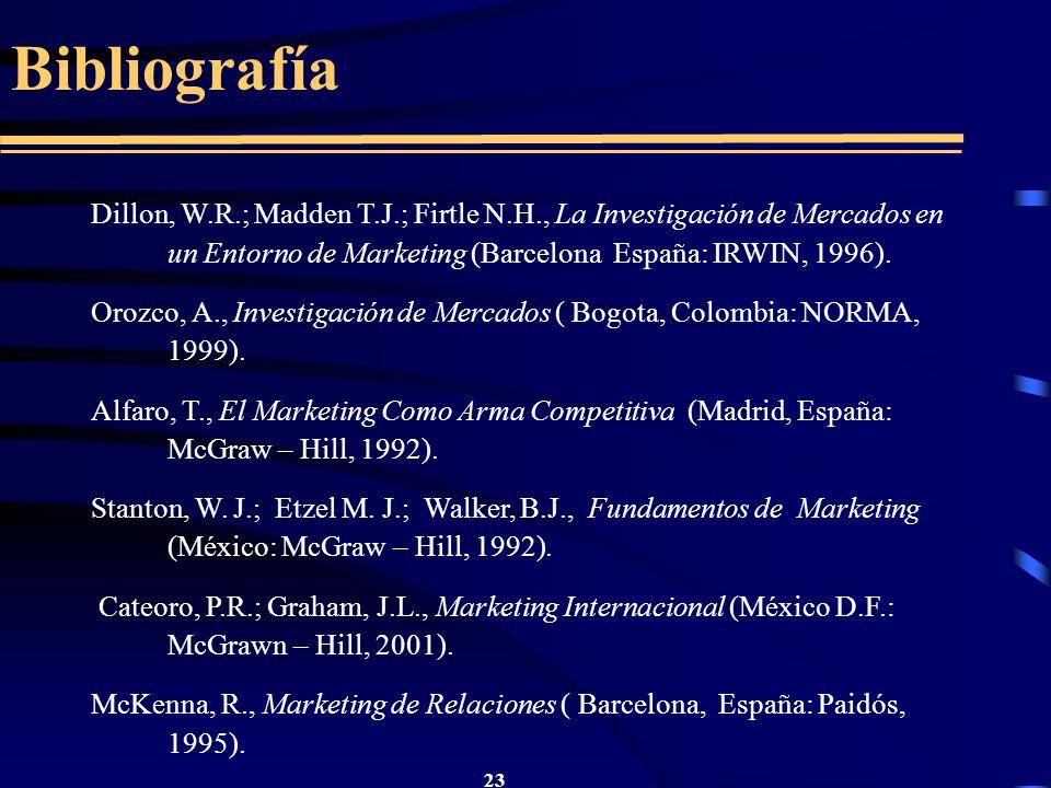 23 Bibliografía Dillon, W.R.; Madden T.J.; Firtle N.H., La Investigación de Mercados en un Entorno de Marketing (Barcelona España: IRWIN, 1996). Orozc