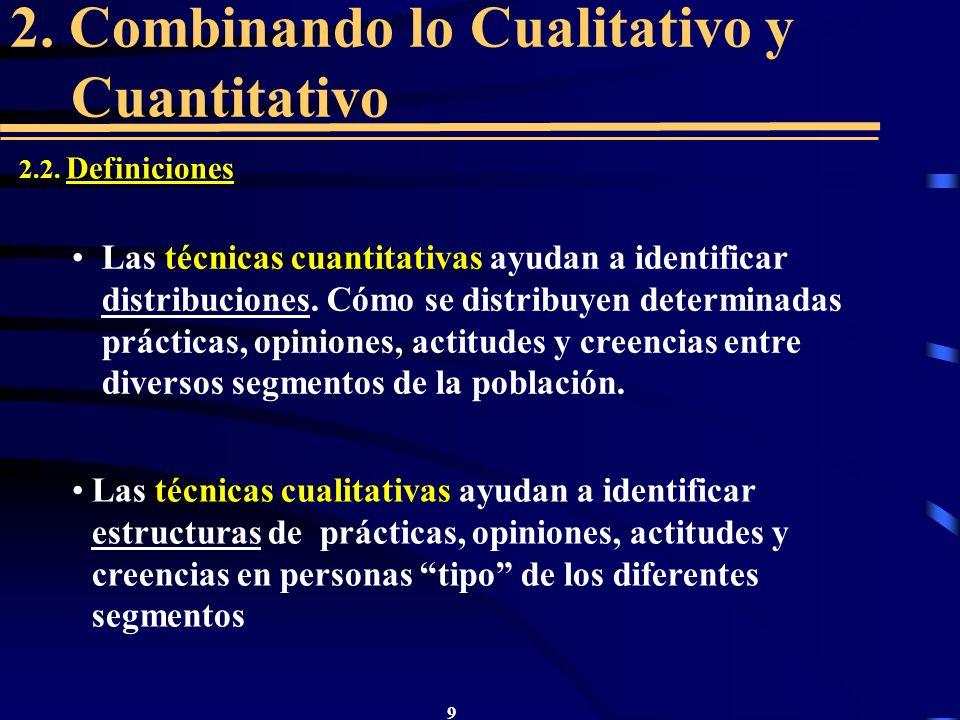 9 2. Combinando lo Cualitativo y Cuantitativo 2.2. Definiciones Las técnicas cuantitativas ayudan a identificar distribuciones. Cómo se distribuyen de