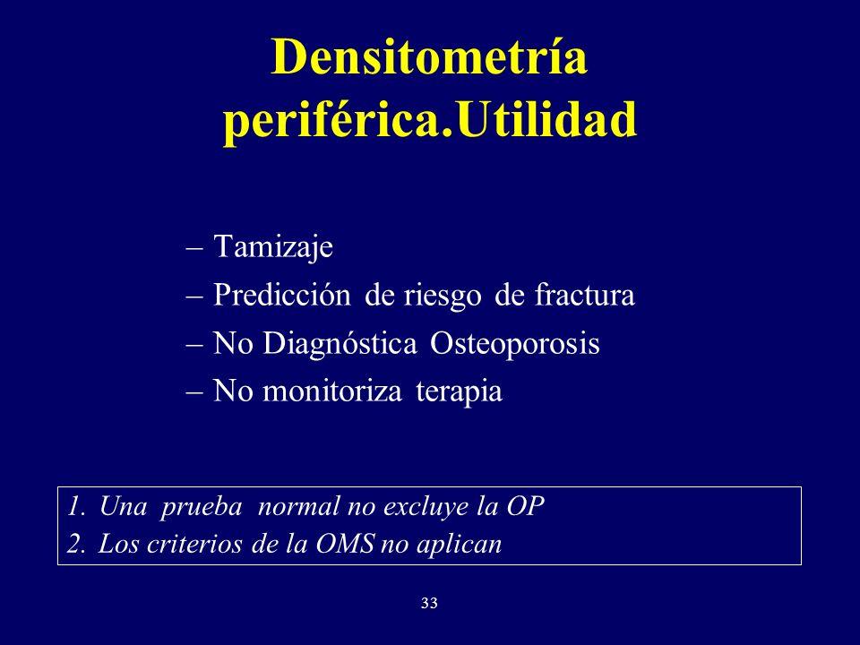 33 Densitometría periférica.Utilidad –Tamizaje –Predicción de riesgo de fractura –No Diagnóstica Osteoporosis –No monitoriza terapia 1.Una prueba normal no excluye la OP 2.Los criterios de la OMS no aplican