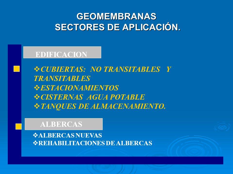 GEOMEMBRANAS SECTORES DE APLICACIÓN. CUBIERTAS: NO TRANSITABLES Y TRANSITABLES ESTACIONAMIENTOS CISTERNAS AGUA POTABLE TANQUES DE ALMACENAMIENTO. ALBE
