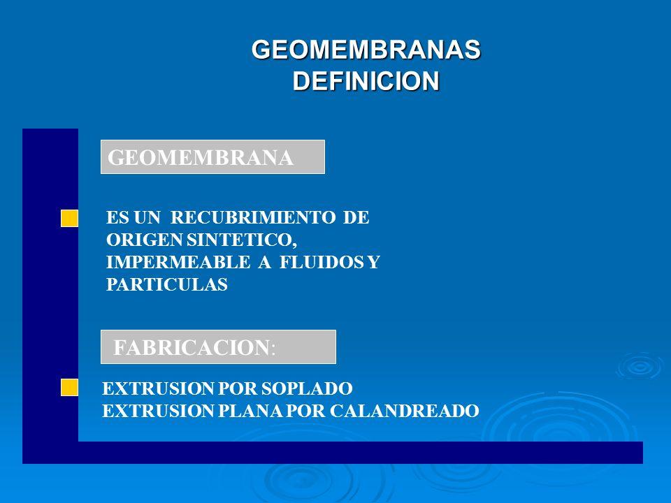 GEOMEMBRANAS DEFINICION EXTRUSION POR SOPLADO EXTRUSION PLANA POR CALANDREADO GEOMEMBRANA FABRICACION: ES UN RECUBRIMIENTO DE ORIGEN SINTETICO, IMPERM