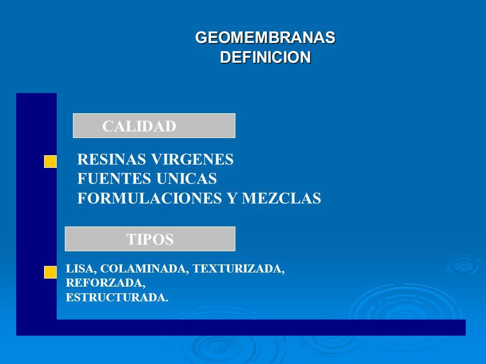GEOMEMBRANAS DEFINICION LISA, COLAMINADA, TEXTURIZADA, REFORZADA, ESTRUCTURADA. CALIDAD TIPOS RESINAS VIRGENES FUENTES UNICAS FORMULACIONES Y MEZCLAS