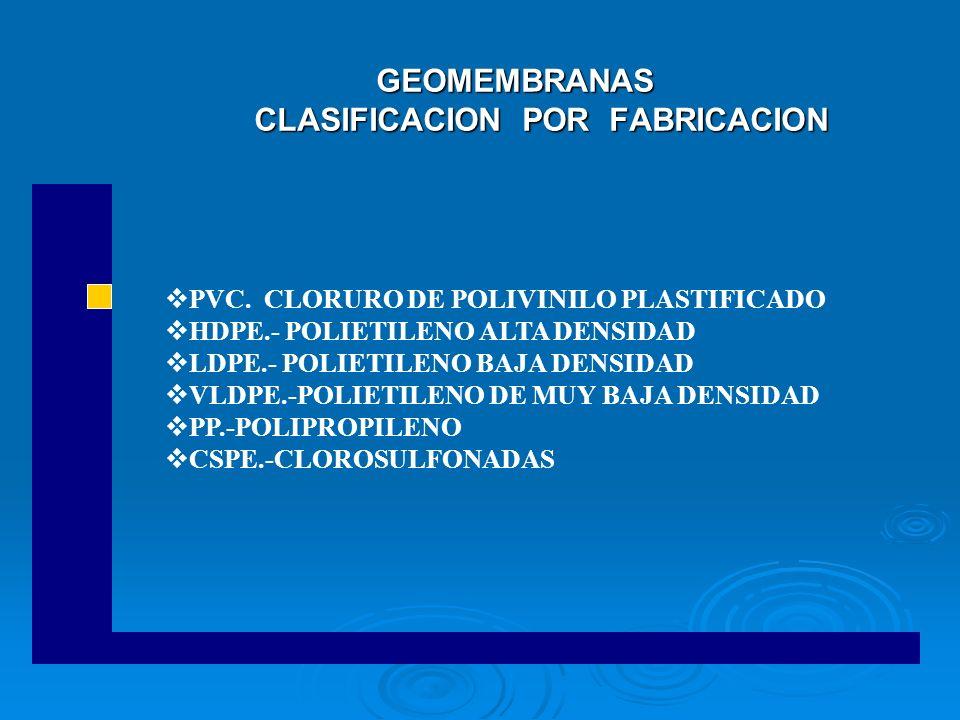 GEOMEMBRANAS CLASIFICACION POR FABRICACION GEOMEMBRANAS CLASIFICACION POR FABRICACION PVC. CLORURO DE POLIVINILO PLASTIFICADO HDPE.- POLIETILENO ALTA