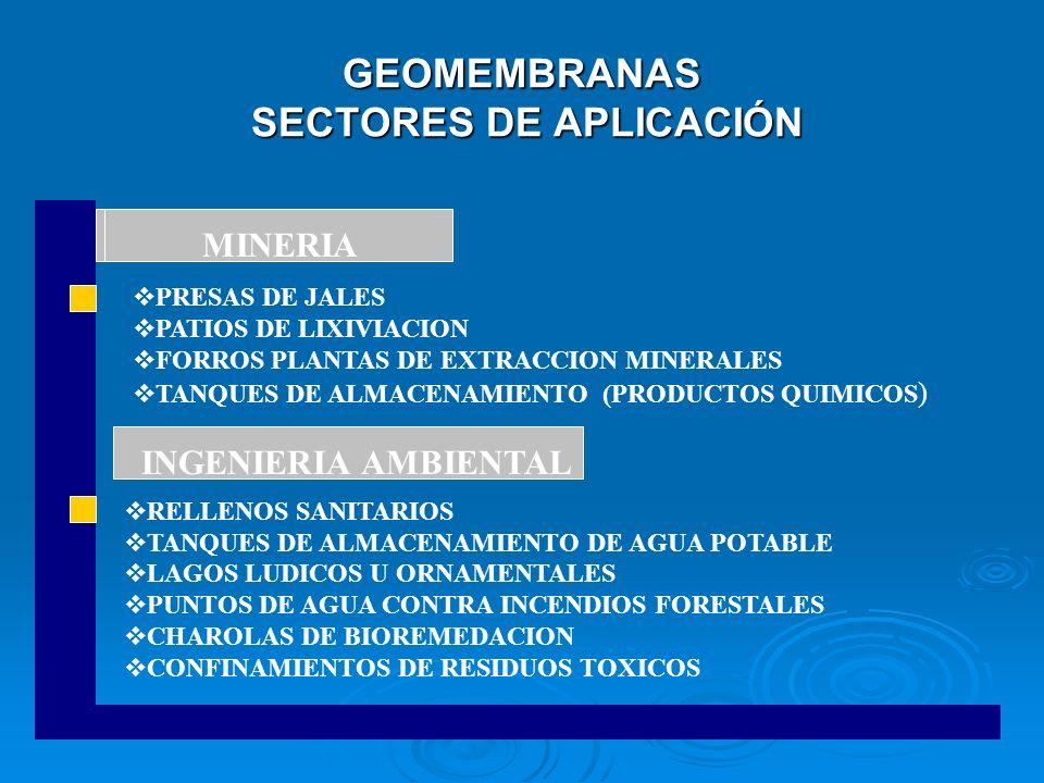 GEOMEMBRANAS SECTORES DE APLICACIÓN PRESAS DE JALES PATIOS DE LIXIVIACION FORROS PLANTAS DE EXTRACCION MINERALES TANQUES DE ALMACENAMIENTO (PRODUCTOS
