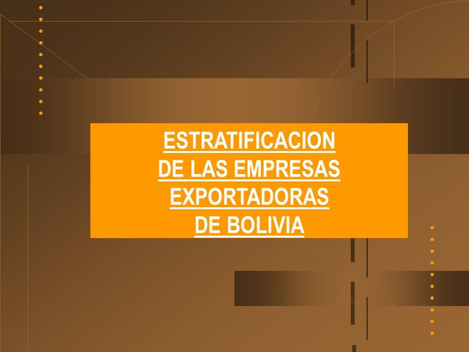 ESTRATIFICACION DE LAS EMPRESAS EXPORTADORAS DE BOLIVIA