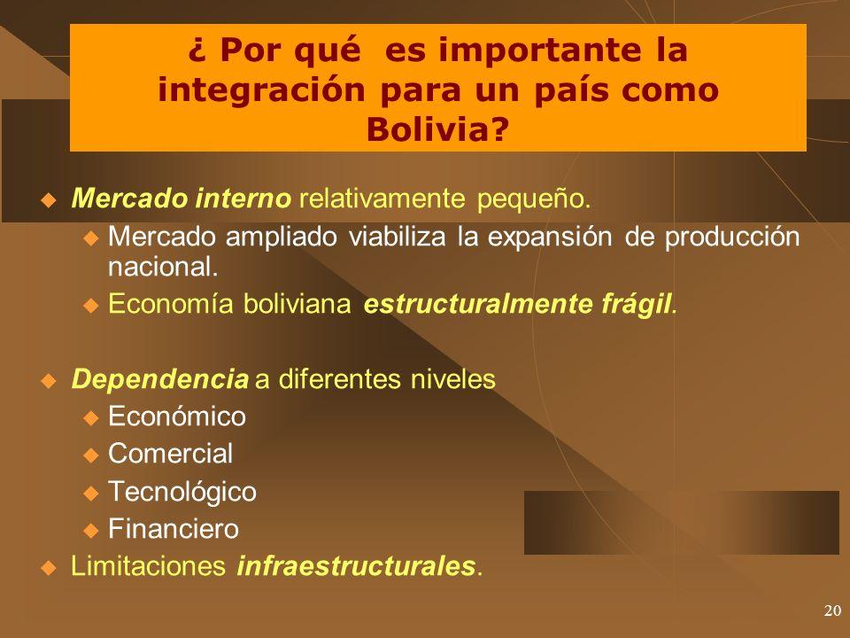 20 ¿ Por qué es importante la integración para un país como Bolivia? Mercado interno relativamente pequeño. u Mercado ampliado viabiliza la expansión