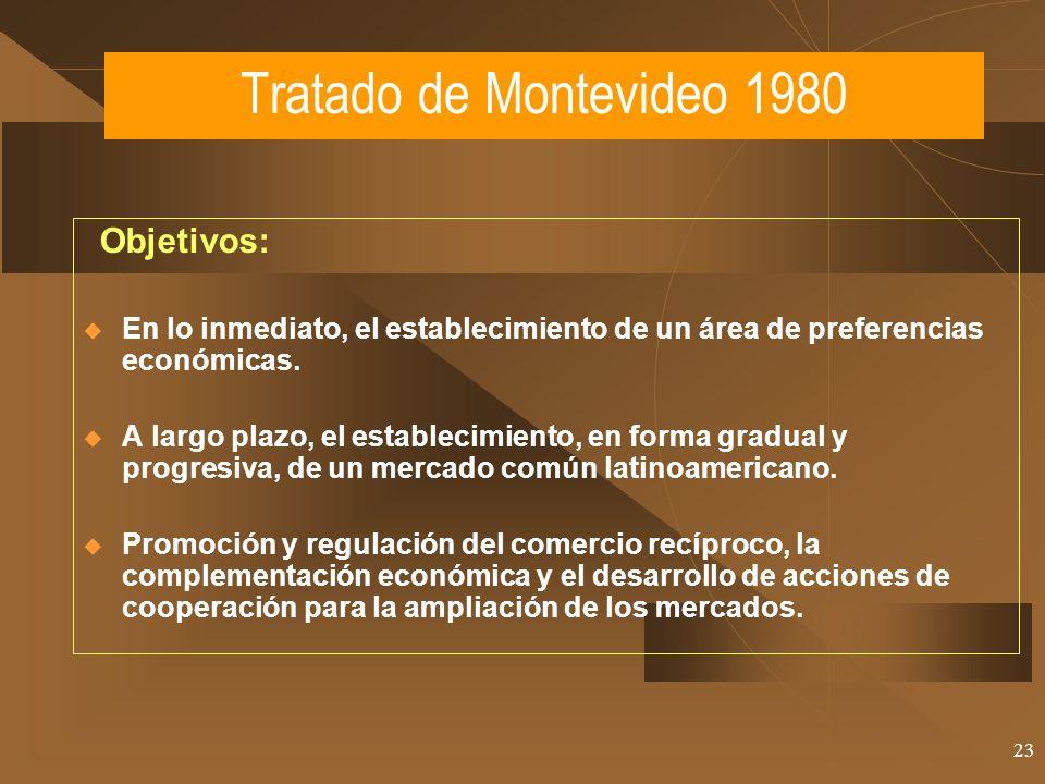 23 Objetivos: En lo inmediato, el establecimiento de un área de preferencias económicas. A largo plazo, el establecimiento, en forma gradual y progres