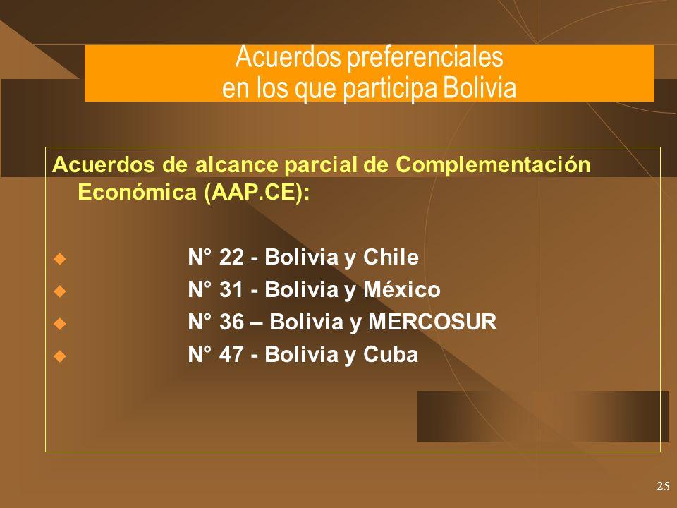 25 Acuerdos de alcance parcial de Complementación Económica (AAP.CE): N° 22 - Bolivia y Chile N° 31 - Bolivia y México N° 36 – Bolivia y MERCOSUR N° 4