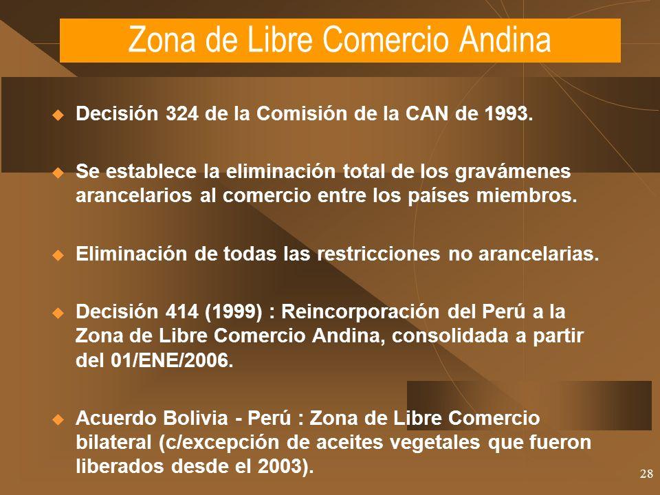 28 Decisión 324 de la Comisión de la CAN de 1993. Se establece la eliminación total de los gravámenes arancelarios al comercio entre los países miembr