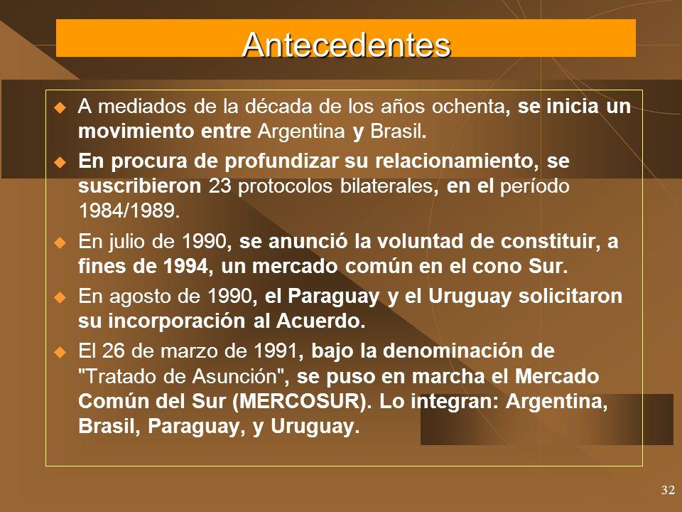 32 A mediados de la década de los años ochenta, se inicia un movimiento entre Argentina y Brasil. En procura de profundizar su relacionamiento, se sus