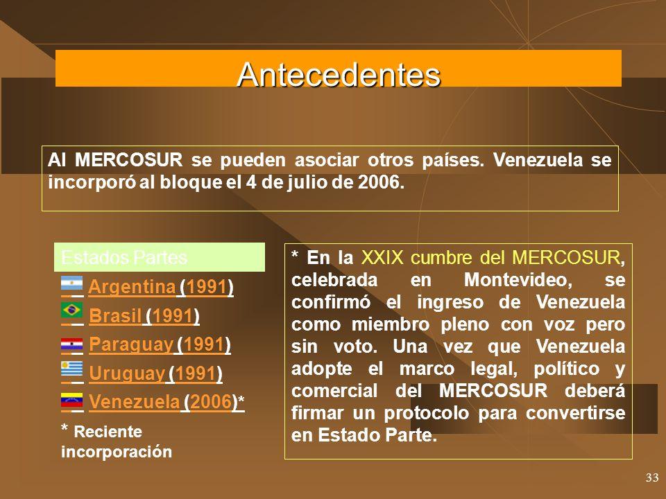 33 Al MERCOSUR se pueden asociar otros países. Venezuela se incorporó al bloque el 4 de julio de 2006. Estados Partes Argentina (1991)Argentina1991 Br