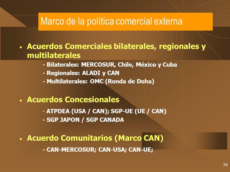 36 Marco de la política comercial externa Acuerdos Comerciales bilaterales, regionales y multilaterales - Bilaterales: MERCOSUR, Chile, México y Cuba