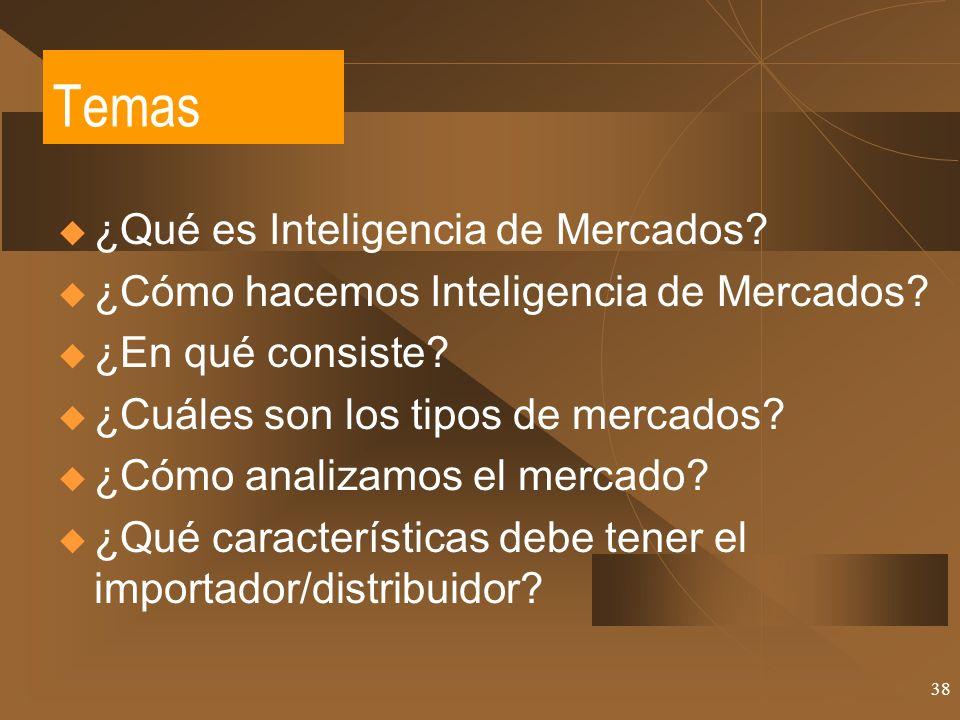 38 Temas ¿Qué es Inteligencia de Mercados? ¿Cómo hacemos Inteligencia de Mercados? ¿En qué consiste? ¿Cuáles son los tipos de mercados? ¿Cómo analizam