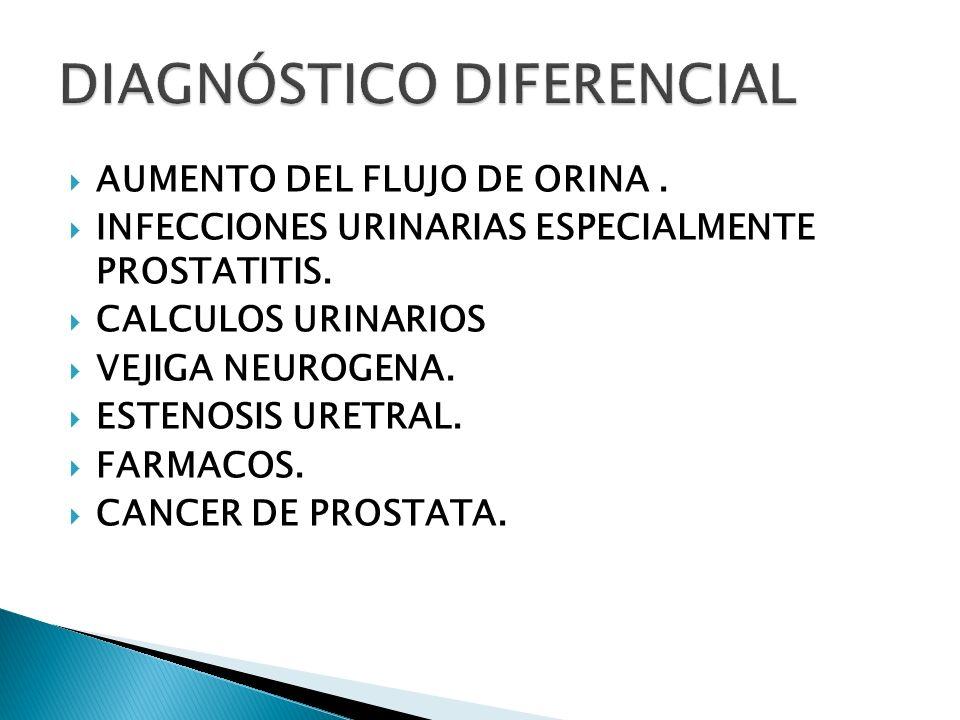 AUMENTO DEL FLUJO DE ORINA. INFECCIONES URINARIAS ESPECIALMENTE PROSTATITIS. CALCULOS URINARIOS VEJIGA NEUROGENA. ESTENOSIS URETRAL. FARMACOS. CANCER