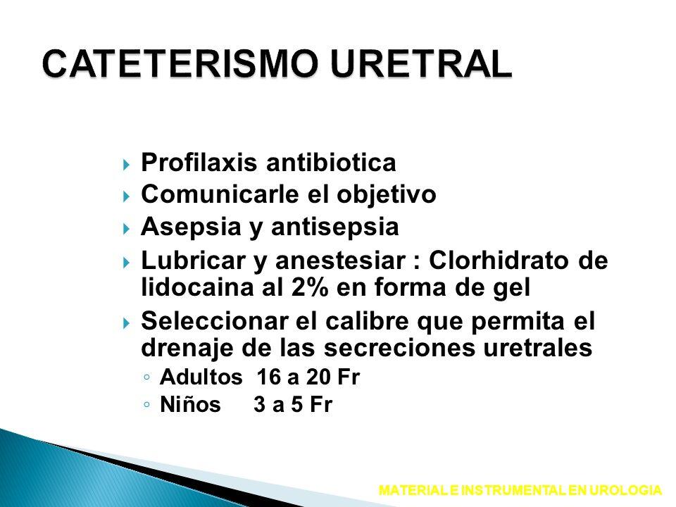 Profilaxis antibiotica Comunicarle el objetivo Asepsia y antisepsia Lubricar y anestesiar : Clorhidrato de lidocaina al 2% en forma de gel Seleccionar