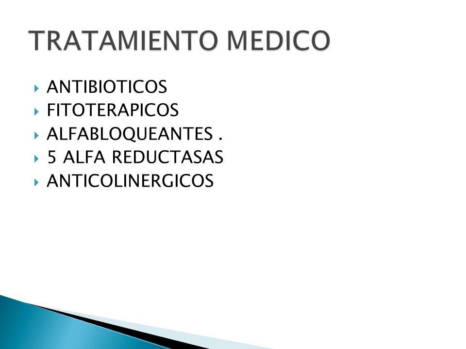 ANTIBIOTICOS FITOTERAPICOS ALFABLOQUEANTES. 5 ALFA REDUCTASAS ANTICOLINERGICOS