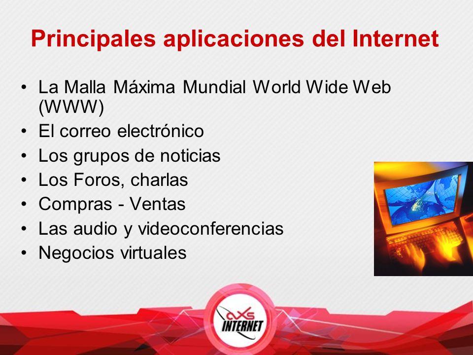 Principales aplicaciones del Internet La Malla Máxima Mundial World Wide Web (WWW) El correo electrónico Los grupos de noticias Los Foros, charlas Compras - Ventas Las audio y videoconferencias Negocios virtuales