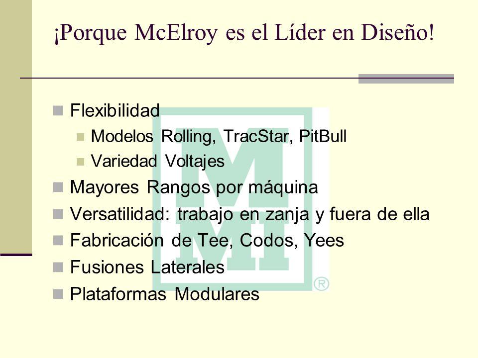 ¡Porque McElroy es el Líder en Diseño! Flexibilidad Modelos Rolling, TracStar, PitBull Variedad Voltajes Mayores Rangos por máquina Versatilidad: trab
